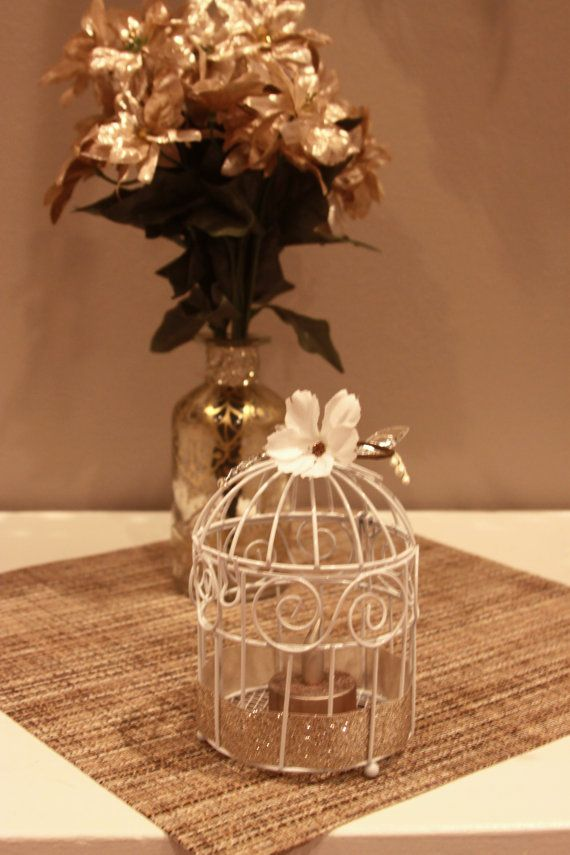 Mini bird cage centerpiece rustic tealight holder