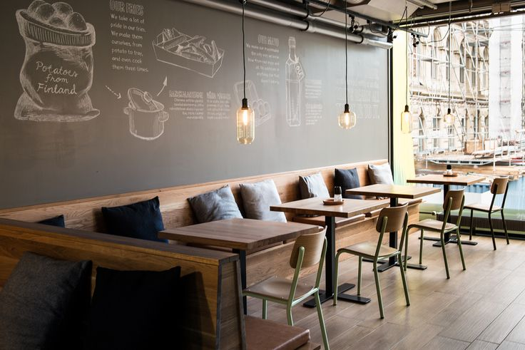 Check out our new restaurant in Helsinki, Finland :) And of course we wanted to add one chalkboard wall! #restaurant #design #lamps