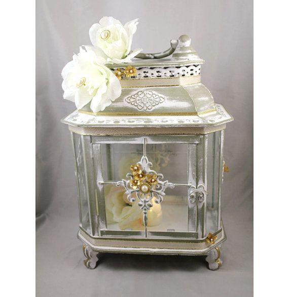Wedding lantern centerpiece vintage white ivory gold