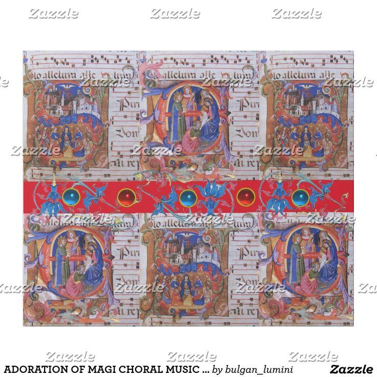 ADORATION OF MAGI CHORAL MUSIC CHRISTMAS PARCHMENT WRAPPING PAPER  #sacredart #medieval #xmas #saints #religious #gem