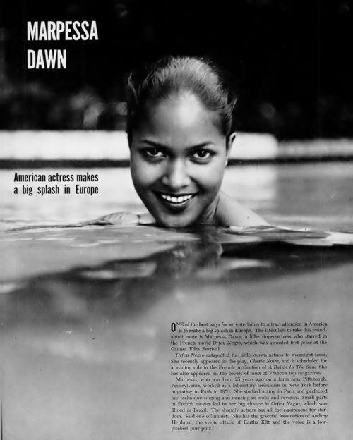 "Marpessa Dawn, Eurydice of ""Black Orpheus"" fame, in 1959 issues of EBONY magazine."