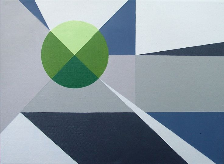 DuoChrome V - original abstract acrylic painting graphic modern circle geometric grey green by MarnieJBlum on Etsy