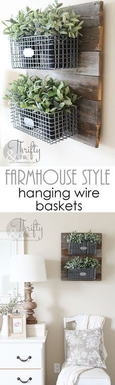 DIY Farmhouse Style Hanging Wire Baskets On Reclaimed Wood. Great way to infuse…