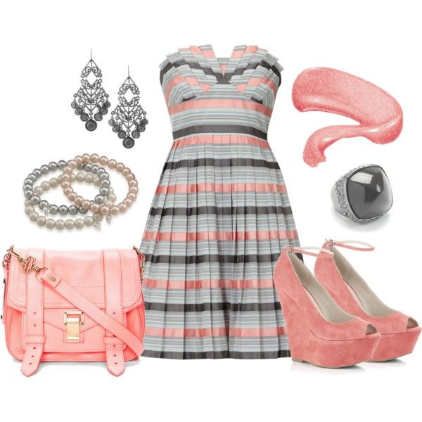 Cute! Love this dress :): Summer Wear, Dreams Closet, 421 Rhinestones, Color, Parties Dresses, Outfit, Dresses Skirts, Pink Grey, Stripes Dresses