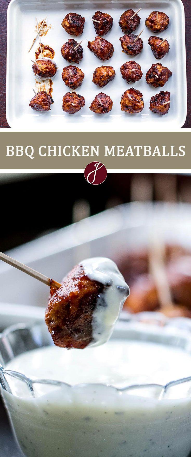 Honey BBQ Chicken Meatballs via @april7116