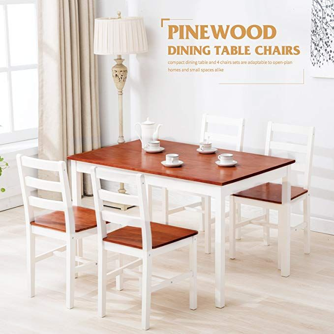 5 Piece Wood Dining Table Set 4 Person Home Kitchen Table And Chairs Walnut Harperbrightdesigns Wood Dining Table Dining Table Setting Dining