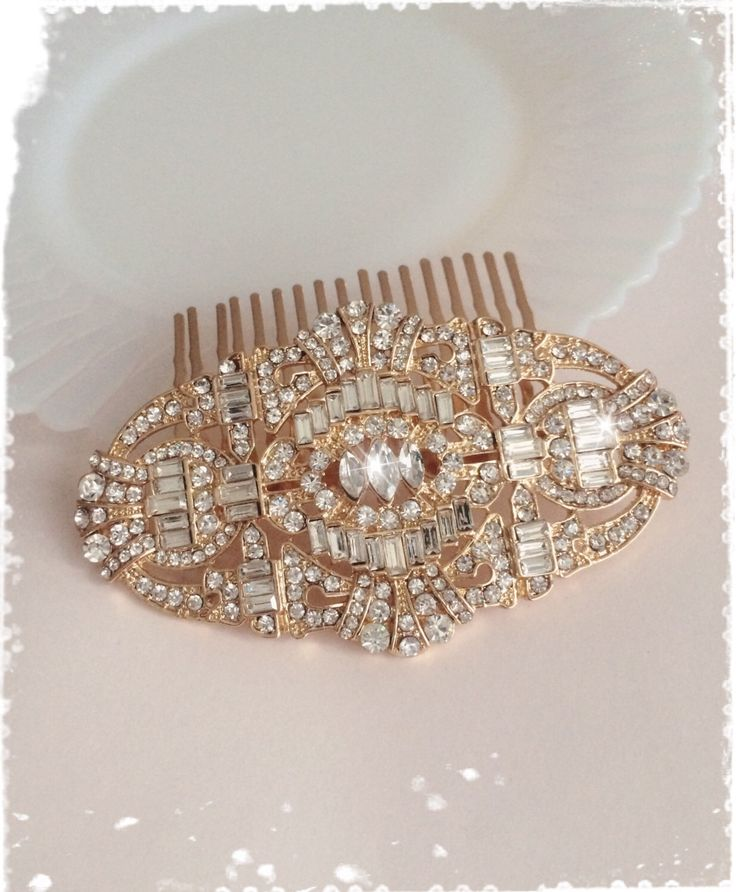 "1920s Great Gatsby Inspired Gold Comb Wedding Hair Accessory-Vintage Bridal Headpiece-Art Deco Swarovski Crystal Comb-""JORDAN rose gold"" by WhitePeonybyKC on Etsy https://www.etsy.com/listing/249038250/1920s-great-gatsby-inspired-gold-comb"