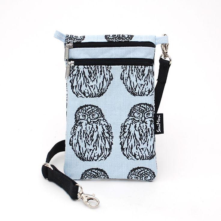 Kännykkälaukku, Pöllö, ice blue pellava – Mobile Bag, Owl, ice blue