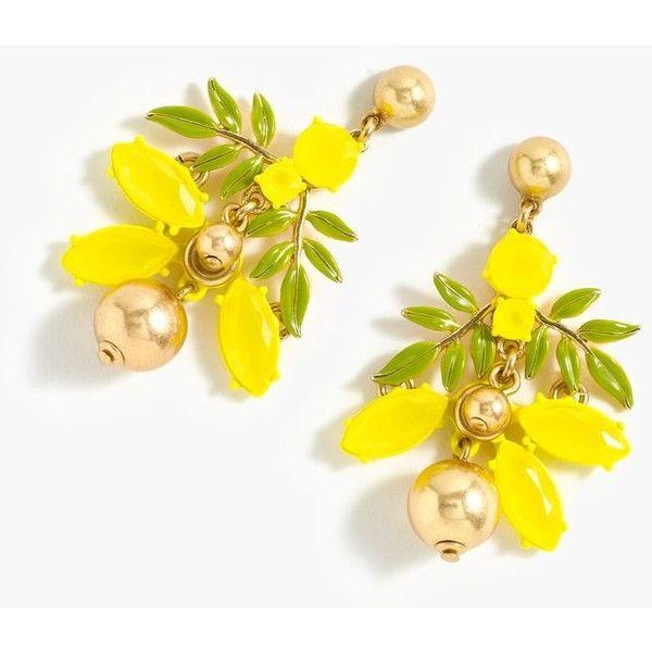 J.Crew Lemon Tree Earrings ($77) ❤ liked on Polyvore featuring jewelry, earrings, lemon earrings, j crew jewelry, multicolor earrings, holiday jewelry and multi colored earrings