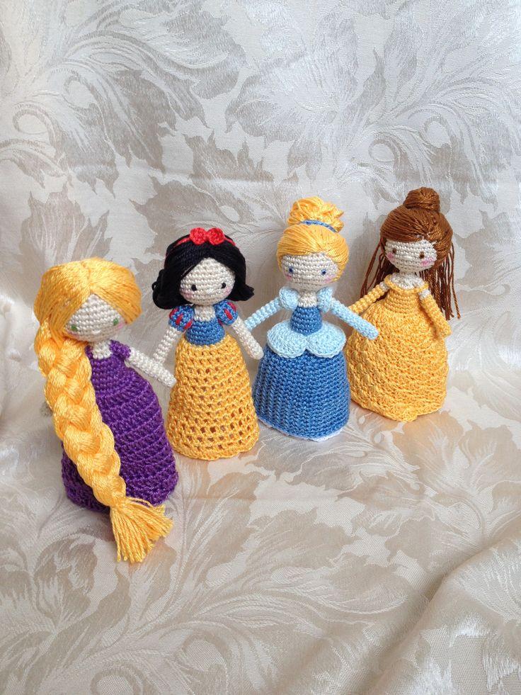 Crocheted princess dolls