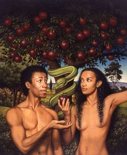 "Cover art to the controversial Newsweek article describing Mitochondrial Eve as likely a dark-haired, dark-skinned woman. (""The Search for Adam and Eve"" by John Tierny. Featured in Newsweek, Jan. 1, 1988) // Painting by Braldt Bralds"