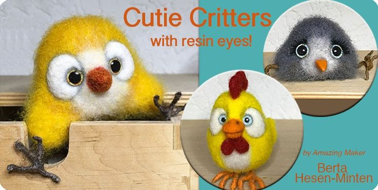 resin jewelry, resin eyes, critter, Berta, stuffed animals, felting, DIY
