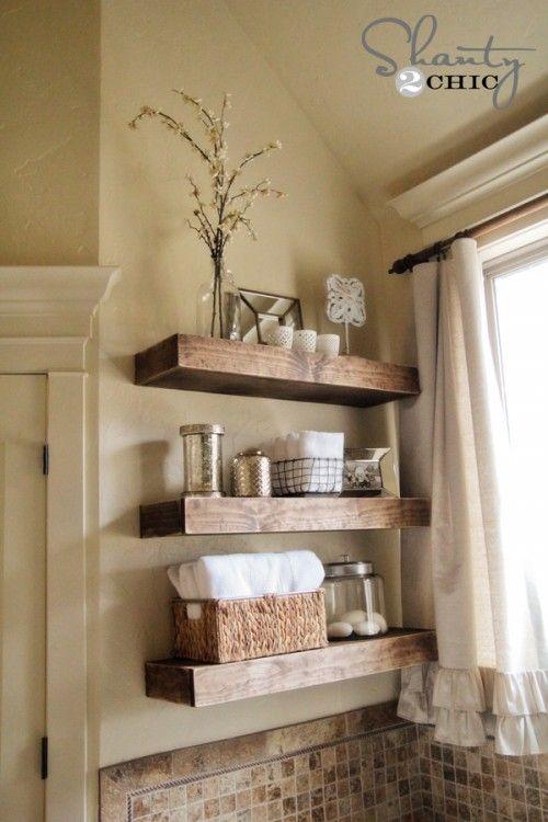 Easy Diy Floating Shelves Shelf Tutorial Video Free Plans Master Bath Remodel Pinterest Bathroom And