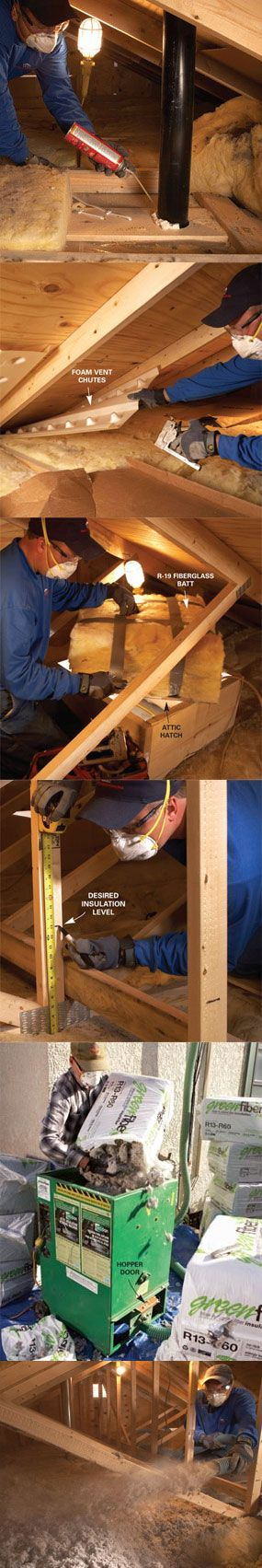 Learn how to install blown insulation at http://www.familyhandyman.com/DIY-Projects/Indoor-Projects/Attics/Attic-Insulation/saving-energy-blown-attic-insulation/View-All