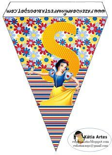 Banderines de Blancanieves con rayas y flores. | Oh my Alfabetos!