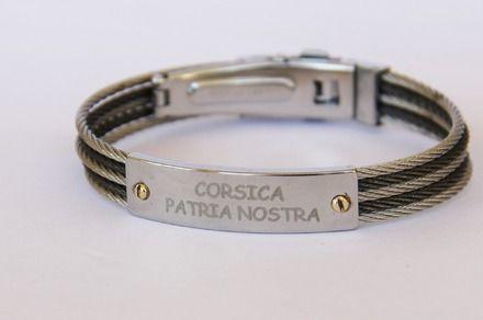 """bracelet corse """"PATRIA NOSTRA """" en cable et plaque d'acier vis or 18 carats (ref 1)  : Bijoux pour hommes par made-with-love-in-aiacciu"""