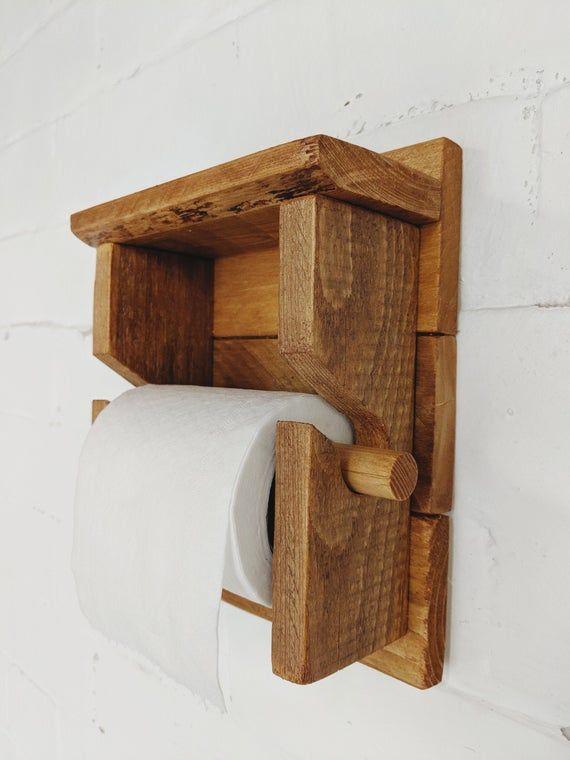 Handmade Rustic Wooden Wall Toilet Roll Holder Paper Towel Storage Wooden Paper Towel Holder Paper Towel Storage Wood Toilet Paper Holder