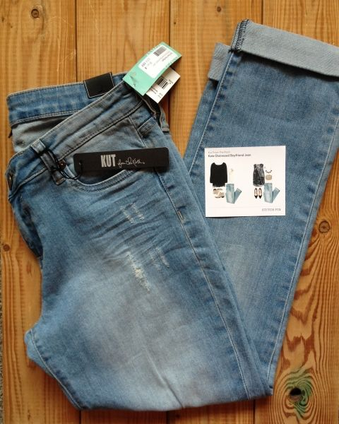 Stlyist- I have these in this color. size 12. Kut from the Kloth Kate distressed boyfriend jean