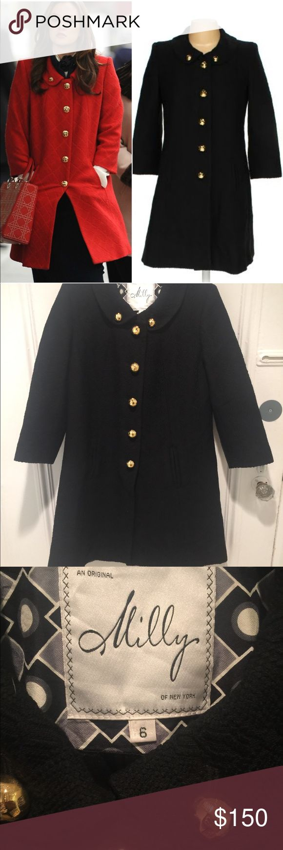 Attractive Milly Black Pea Coat 6 Blair Waldorf Gossip Girl