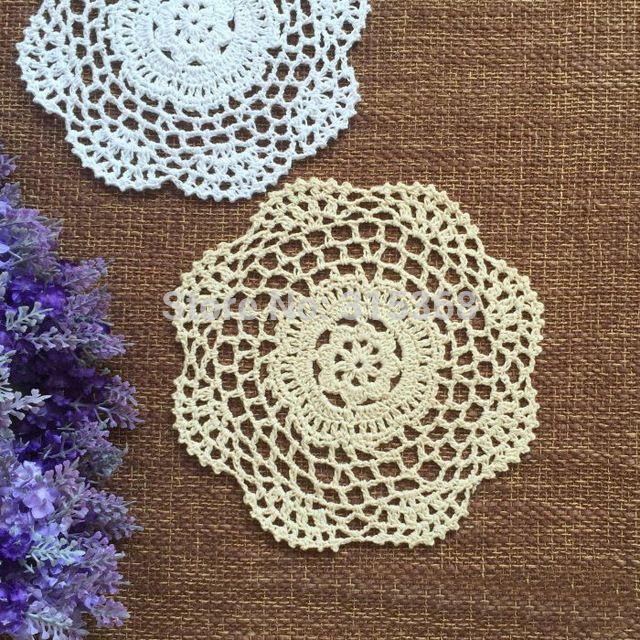 Handmade Crochet Coaster Doilies de crochê 20 cm chique gasto do Vintage ZAKKA copo mat 24