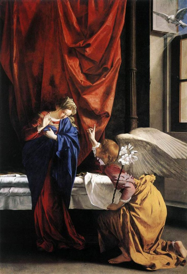 オラツィオ・ジェンティレスキ(Orazio Gentileschi )『受胎告知』(Annunciation) 1623 油彩・キャンバス 286×196cm サバウダ美術館 in トリノ