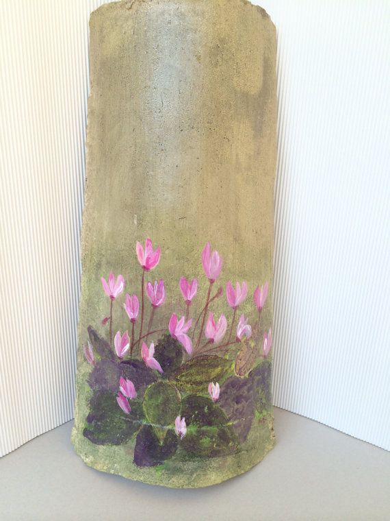 Handpainted μοναδικά διακοσμητικά κεραμικά πλακίδια άνω των 60 ετών οροφή - με κυκλάμινα λουλούδια