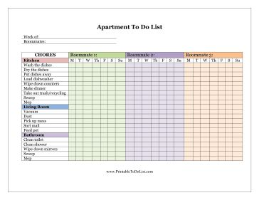This free, printable apartment to do list is helpfully color-coded for the chore checklist of three separate roommates. It can help occupants divvy up cleaning tasks. There are places to fill in the date and names. Chores are provided for the kitchen, living room and bathroom. Free to download and print