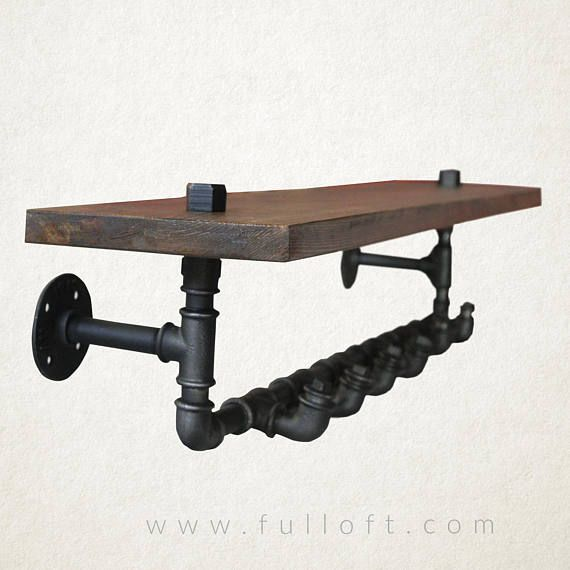 industrial tube hangers with a solid  wood shelf  Hanger