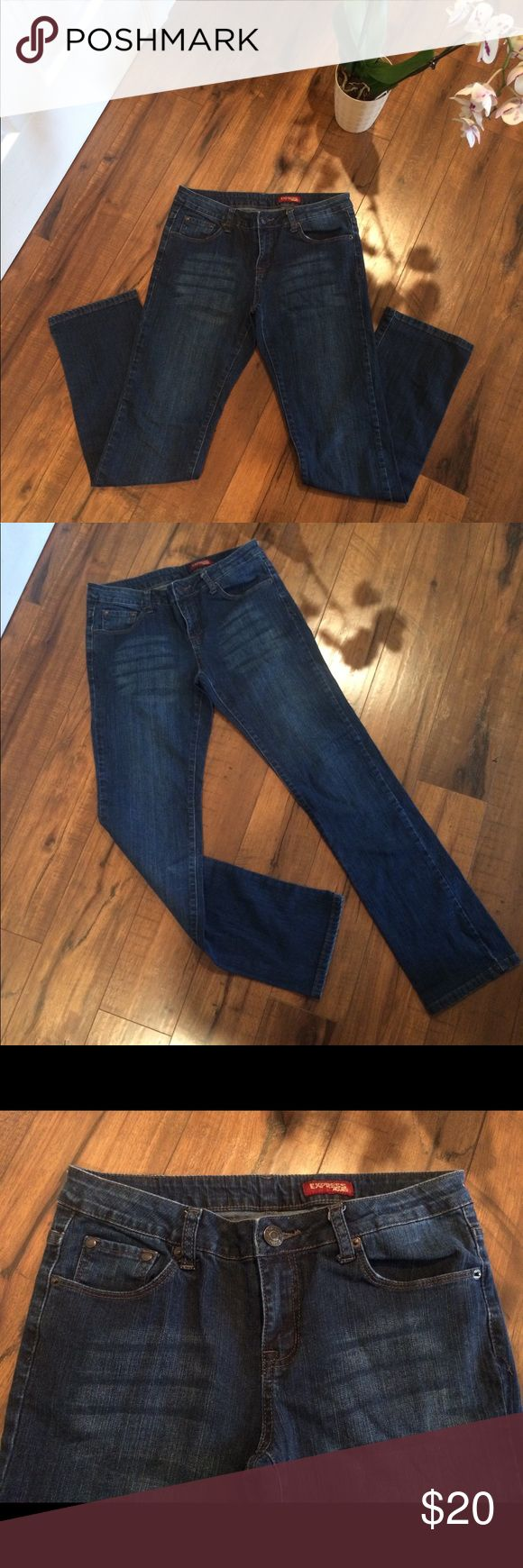 Express women's jeans.  Size 8. Women's express dark blue jeans.  Style is Zelda.  Like new!  No fringes or tears.  98% cotton, 2% spandex.  Length is 39 inches and the rise is 8 inches. Express Jeans Straight Leg