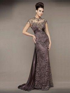 Slida/Kolumn Hög Hals rmlös Sweep Släp Lace Satäng Formal Evening Dress