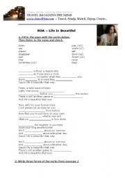 English worksheet: NOA - Life Is Beautiful
