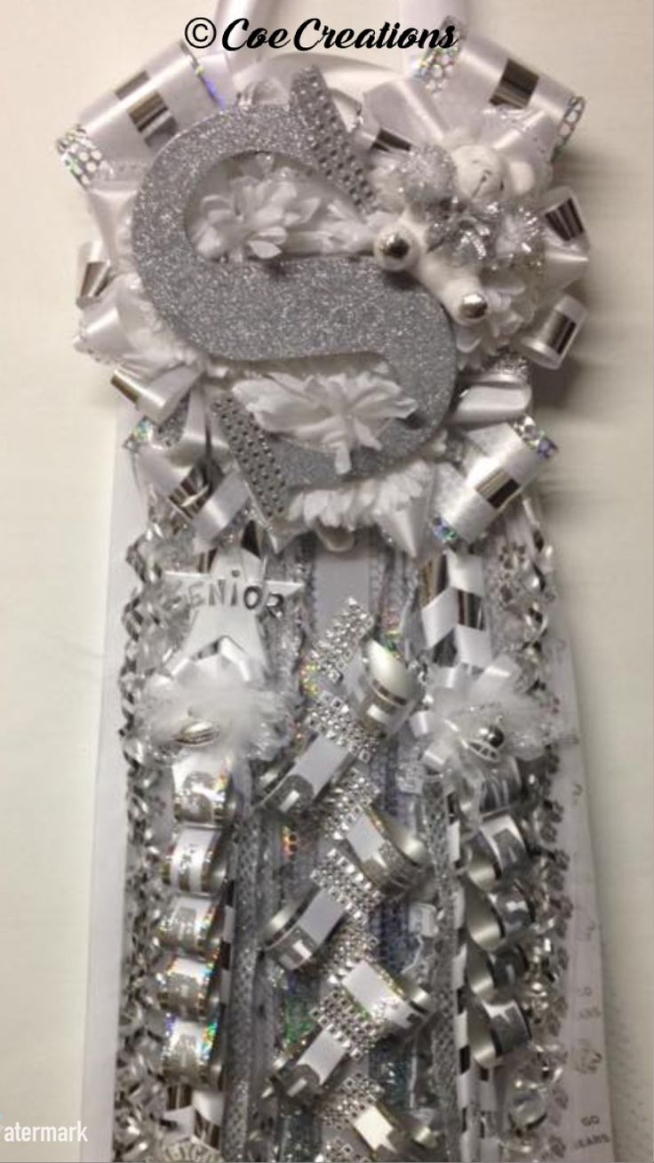 "Senior Triple ""Bling Letter"" Homecoming Mum http://www.facebook.com/Coe-Creations-Beautiful-Homecoming-Mums-at-Affordable-Prices-231054123599172"
