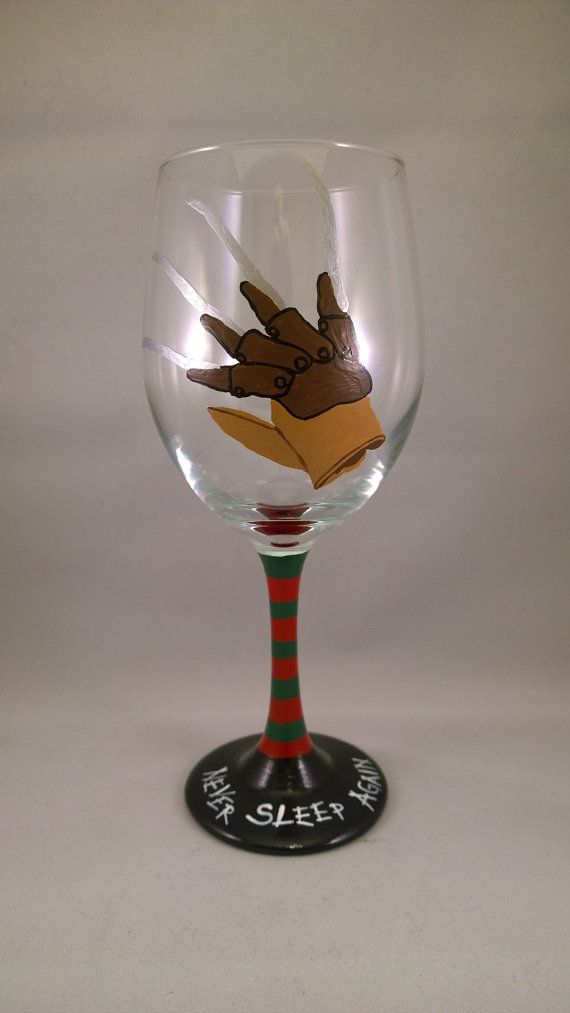1...2...Freddys Comin for you..........Better have some wine waiting..... Hand Painted Freddy Krueger Glove Wine Glass, complete with a Freddy