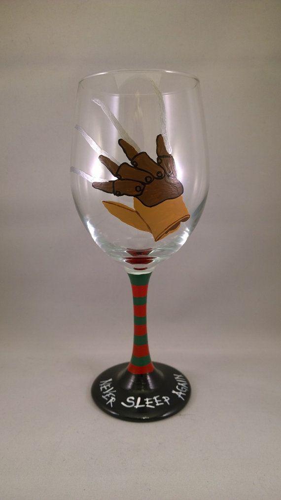 Freddy Krueger Glove Hand Painted Wine Glass by GorejessLaboratory