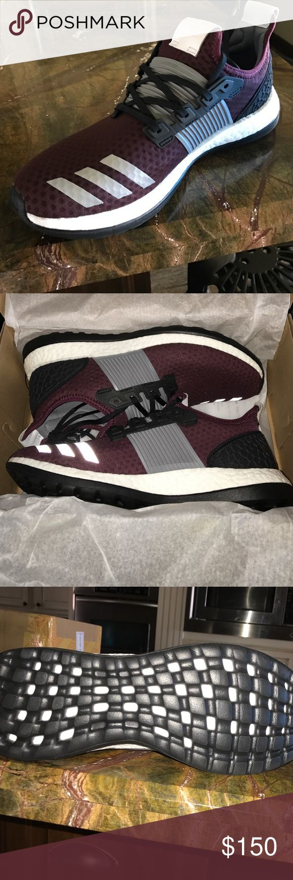 Adidas pure boost running shoes Maroon, black, grey and white adidas running shoes. Brand new! Never been worn and still in the box! Adidas Shoes Athletic Shoes