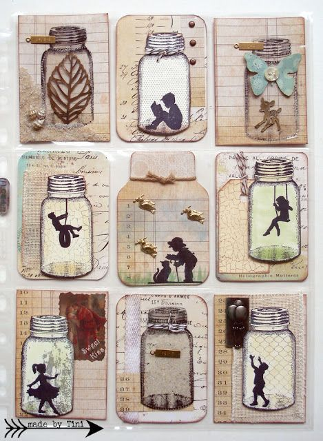 Arts by Tini: My Pocket Letters - use acetate mason jars to contain crafty goodies in some pockets