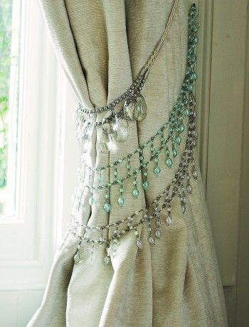 home diy -- beaded tie backs for curtains. would be great in a girls room or something moroccan inspired, maybe even shabby chic.