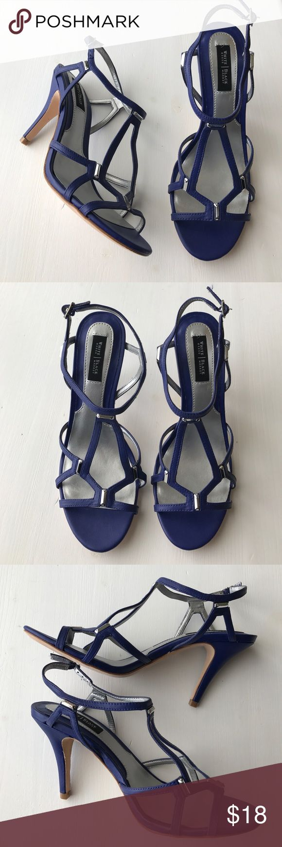Blue strappy heels Beautiful blue sandals with silver accent! These shoes are brand new, maybe worn once. Elastic and adjustable buckle at the ankle. Leather. White House Black Market Shoes Heels