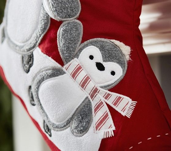 Gray Penguin Quilted Stocking Stockings Diy Holiday