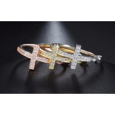 Ziphlets Pave Cubic  Zirconia Cross Hoop Earrings. Use the code BY310SALE to get 15%off all By3 products