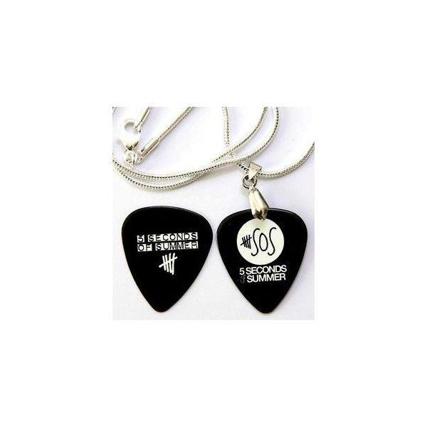 5 Seconds of Summer Silber Gitarren Plektrum Halskette + passende Pick ❤ liked on Polyvore featuring accessories