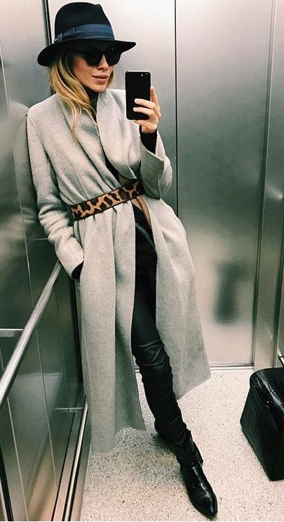 grey coat. animal print belt. chic style.