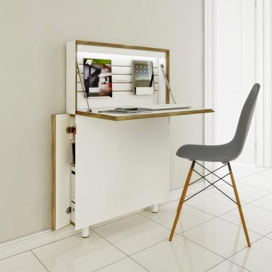 Think Thin: Slim Desks for Small Spaces:  could this be hacked with IKEA furniture pieces?
