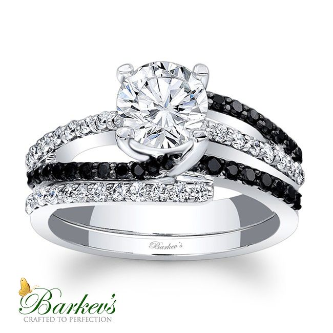 Barkev s Black Diamond Engagement Set 7677SBK