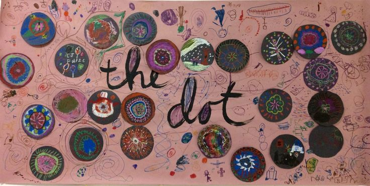 """Collaborative artwork based on Peter H. Reynold's """"The Dot."""" Created by first grade. Every student was given a dot to design in oil pastel. Then they taped them to the banner and decorated the background. They could take their own dot home when the display was done!"""