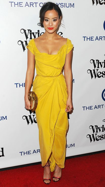 Golden Globes 2016: All the Dresses You Didn't See on the Red Carpet | People - Jamie Chung in a yellow Vivienne Westwood dress
