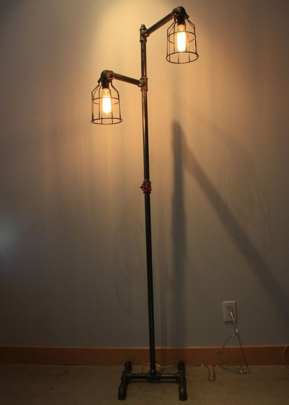 Black Iron Pipe Floor Lamp Faucet Switch Bulb Cages Standing Edison Steampunk Projects