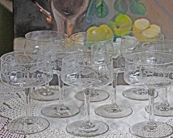 Vintage Champagne Glasses with Etched Fuchsia  Flowers. Set of