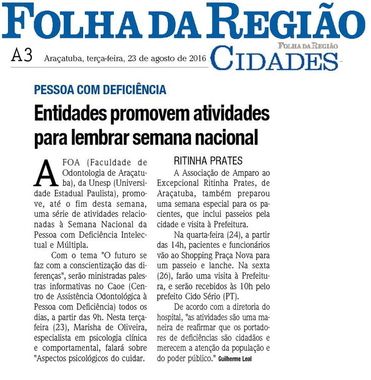 """Entidades promovem atividades para lembrar semana nacional """"Pessoa com Deficiência"""". Fonte: Folha da Região"""