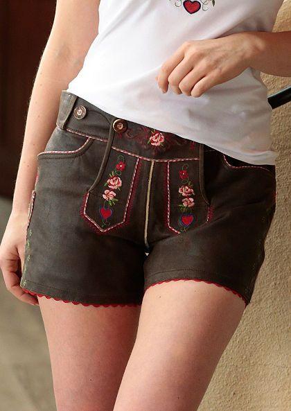 Trachtenlederhose kurz Damen mit Stickerei, Country Line